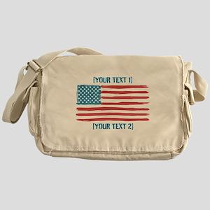 [Your Text] 'Handmade' US Flag Messenger Bag